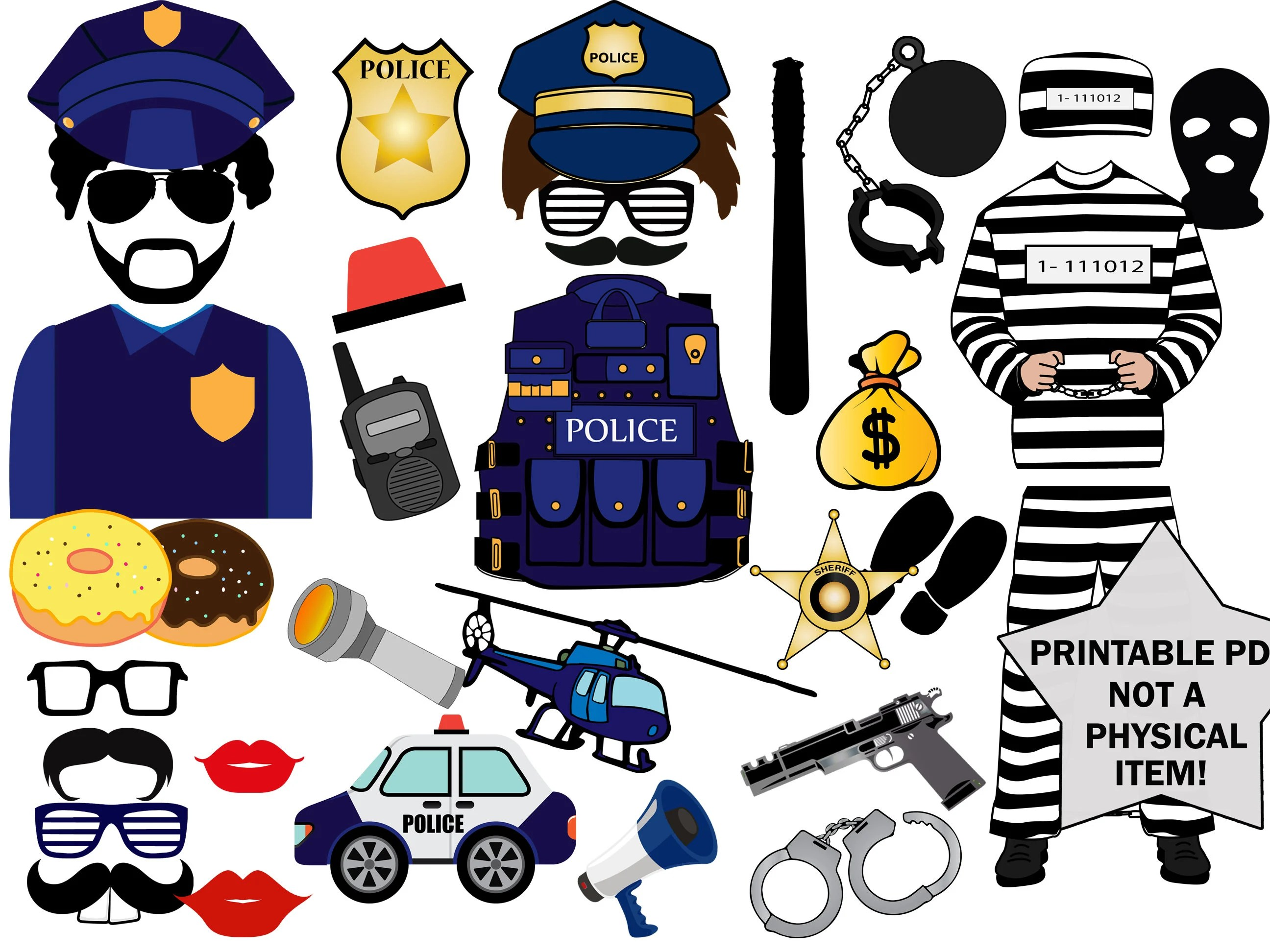 Printable Police Robber Photo Booth Props Police