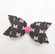 leather bow handmade hair faux