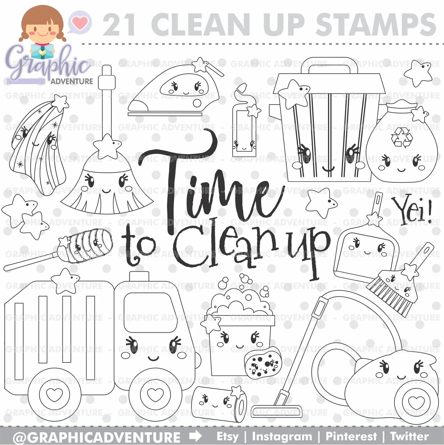 Clean Up Stamps Cleaning Stamps Chores Stamps COMMERCIAL