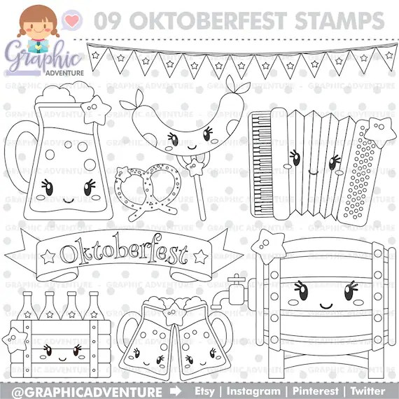 Oktoberfest Stamps Oktoberfest Coloring Page Autumn Stamps