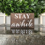Stay Awhile Small Block Sign Small Wood Sign Farmhouse