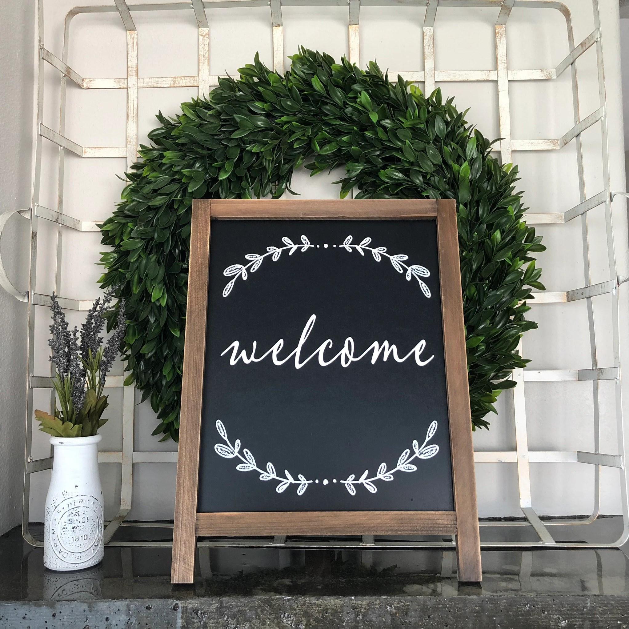 Welcome Entryway Sign Black White Farmhouse Decor