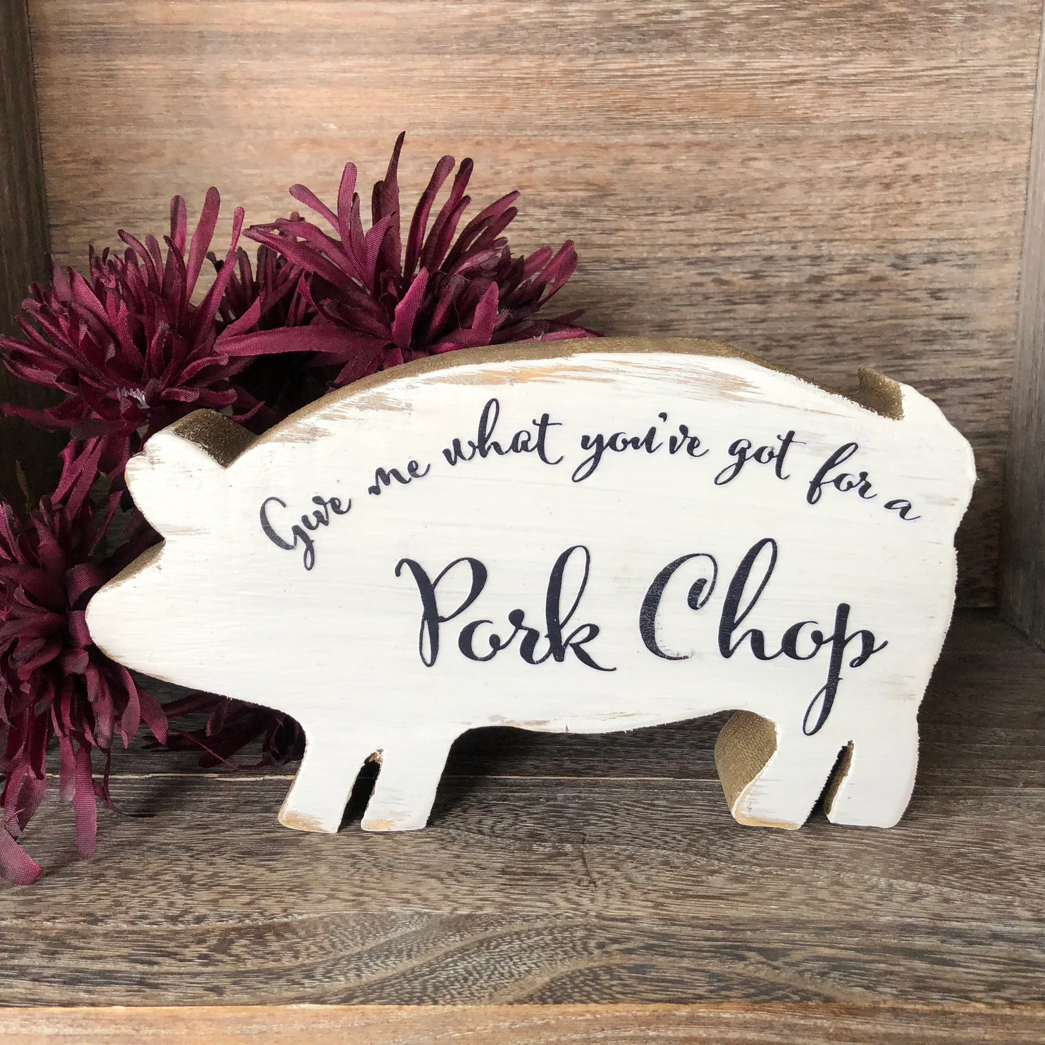 pig kitchen armstrong cabinets pork chop sign thick wooden stand alone decor farmhouse funny signs humor