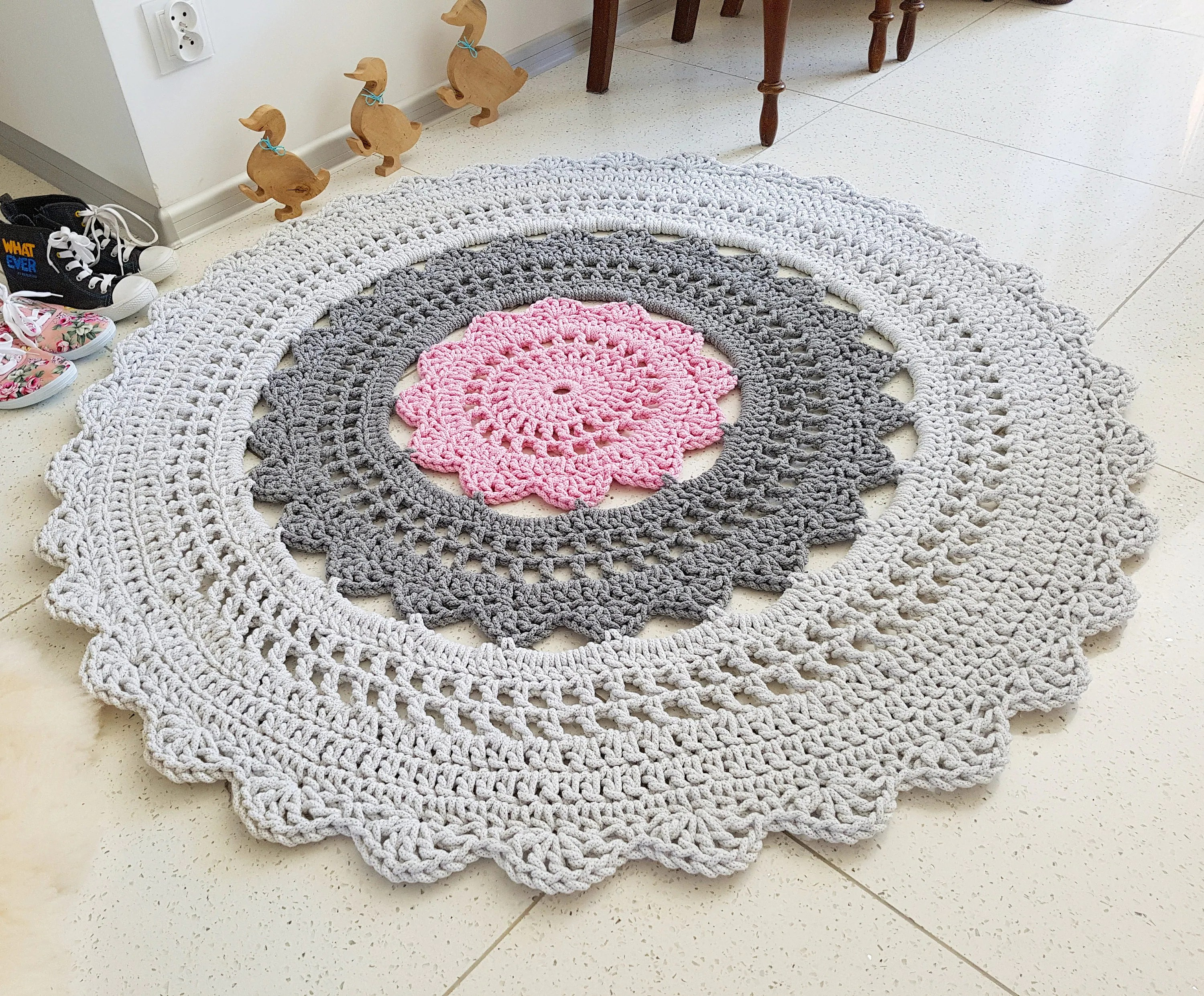 Shabby Chic Teppich Multi Colour Doily Rug Tapis Bohemian Shabby Chic Country Bedroom Rustic Floor Decor Teppich Rund Alfombra Trapillo Modern Carpet