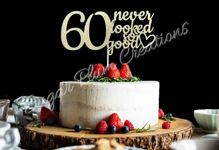Any Number Gold Glitter 60th Birthday Cake Topper 60 Never Etsy
