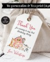 Farm Animal Party Favors Farm Thank You Tags Pink Flowers Etsy