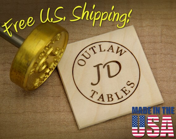 "Branding Iron - 2"" Round Custom Text w/Initials & Outline for Wood"