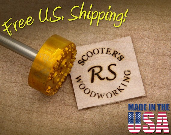 "Branding Iron - 1.5"" Round Custom Text w/Initials for Wood"
