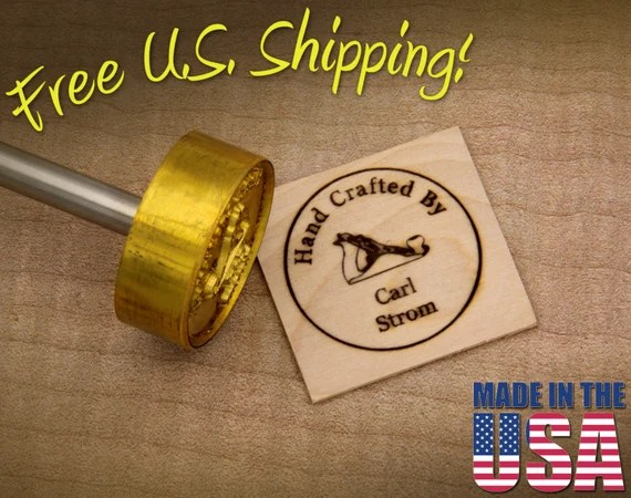 "Branding Iron - 1.5"" Round Custom Text ""Hand Crafted By"" with Hand Plane for Wood"