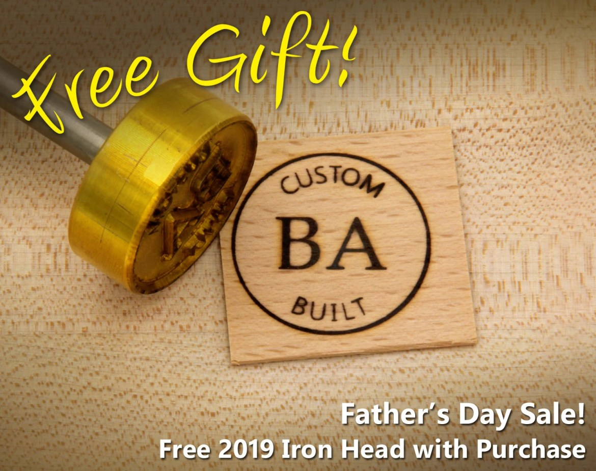 "Branding Iron - 1.5"" Round Custom Text w/Initials & Outline for Wood"
