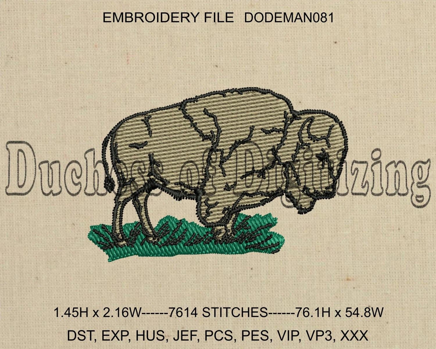 Bison Embroidery Design Buffalo Embroidery Design Bison
