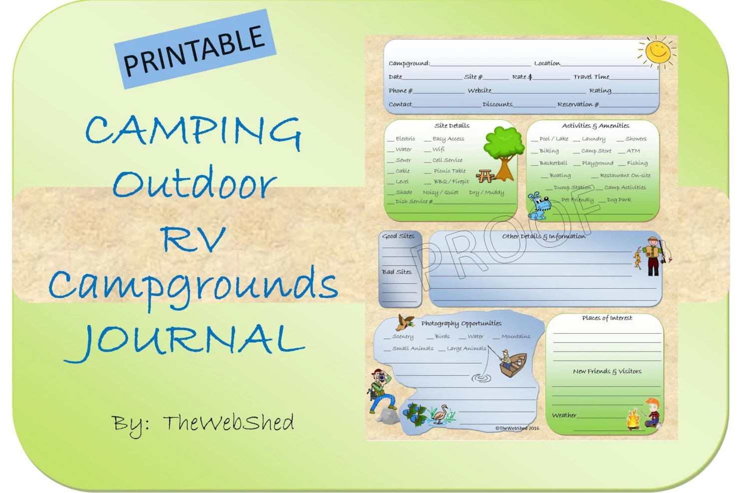 Campground Review Camping Journal Worksheet Printable For