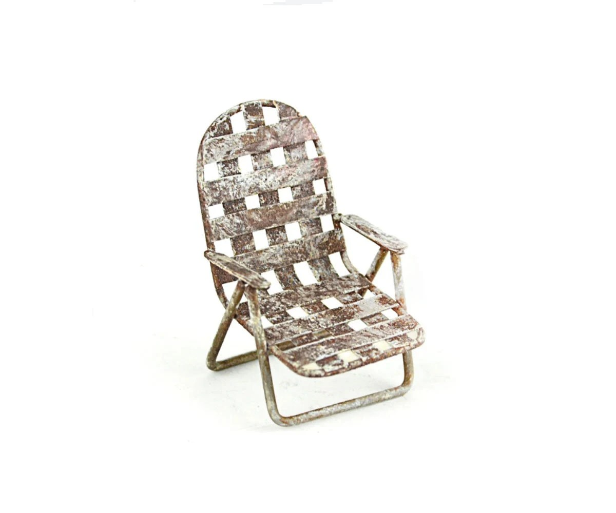 Woven Lawn Chair Miniature Woven Lawn Chair In White Fairy Garden Furniture Rustic Home Decor