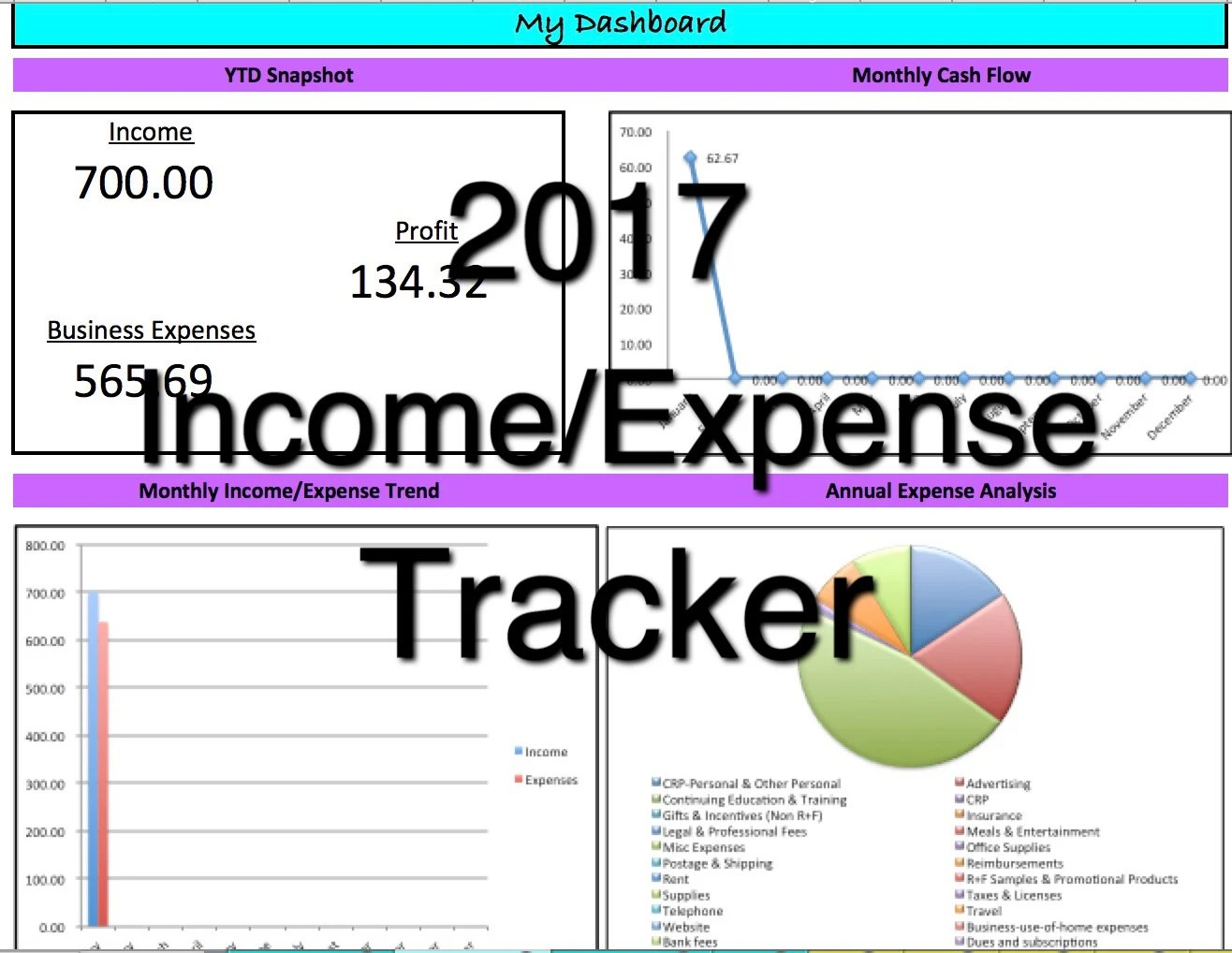 2018 Rodan Fields Income/Expense Tracker Exclusive Monthly