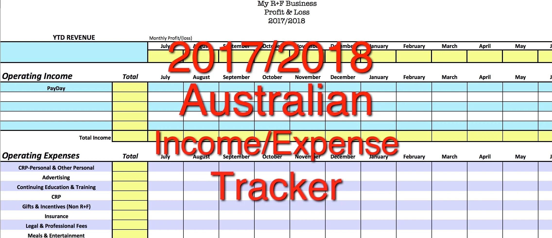 Australian Rodan Fields Income Expense Tracker