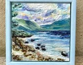 Shores of Loch Lomond Scotland miniature painted and waxed framed art.