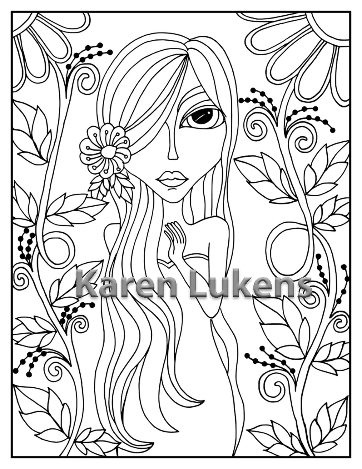 Lolita 1 Adult Coloring Book Page Printable Instant
