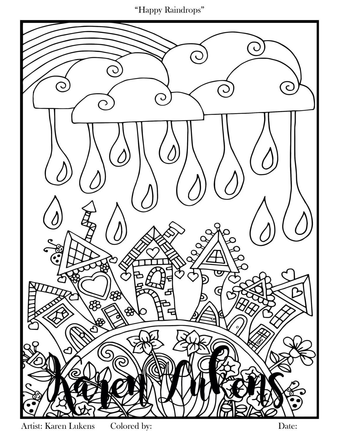 Happy Raindrops 1 Adult Coloring Book Page Printable