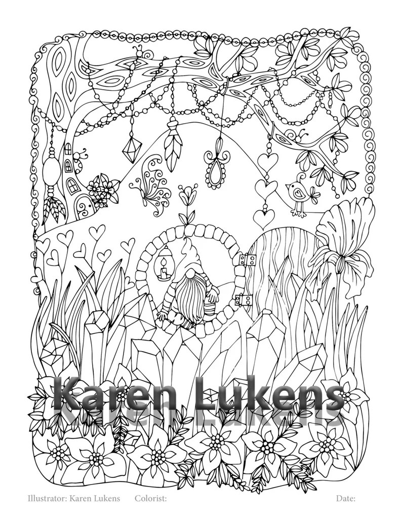 crystal hill , 1 adult coloring book pages, printable instant download