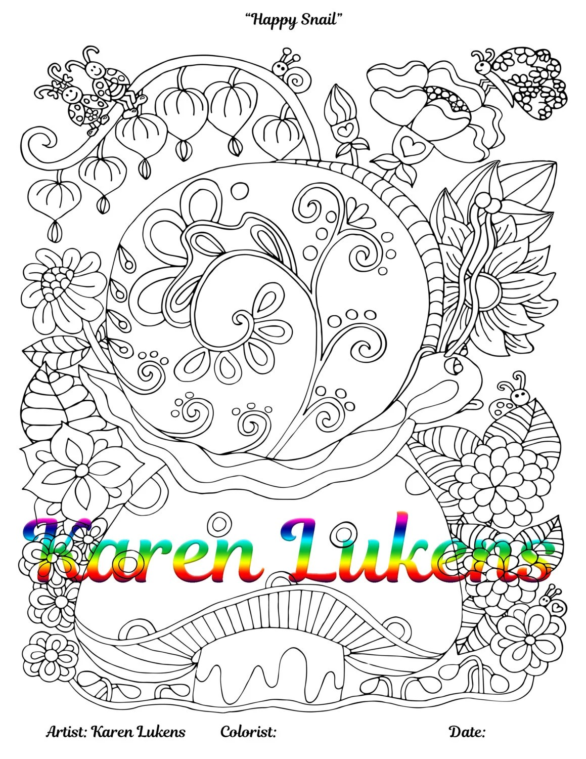Happy Snail 1 Adult Coloring Book Page Printable Instant