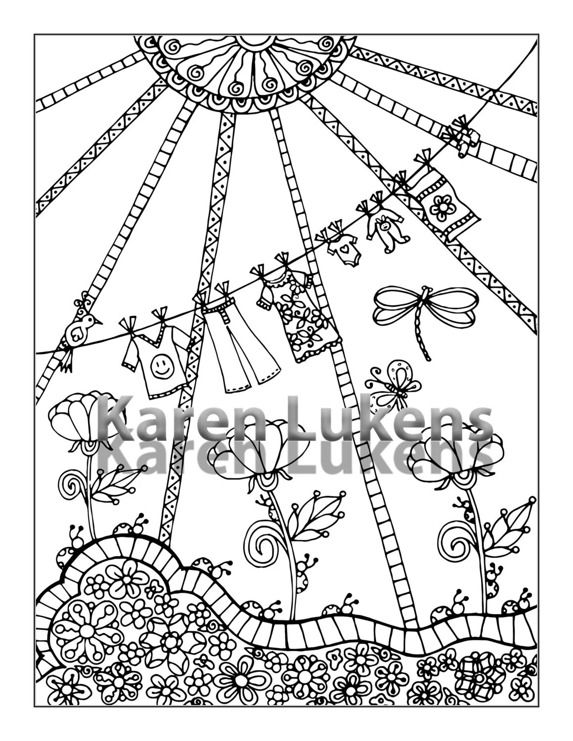 Clothes Line 1 Adult Coloring Book Page Printable Instant