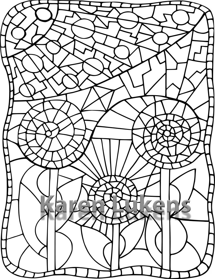 Mosaic Flower 1 Adult Coloring Book Page Printable Instant