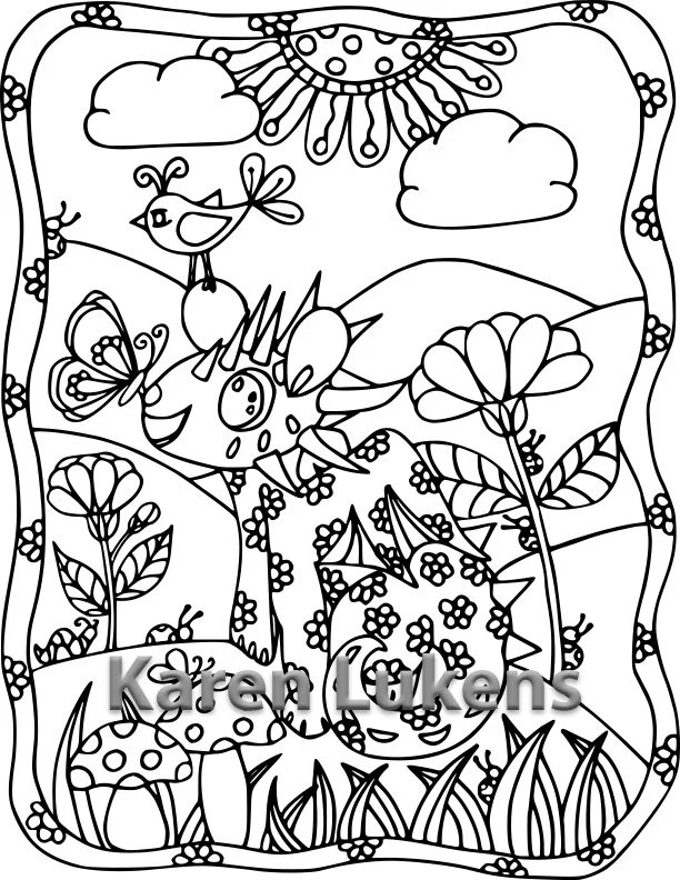 5 pages Happy Critters Pack 1 5 Adult Coloring Book Pages
