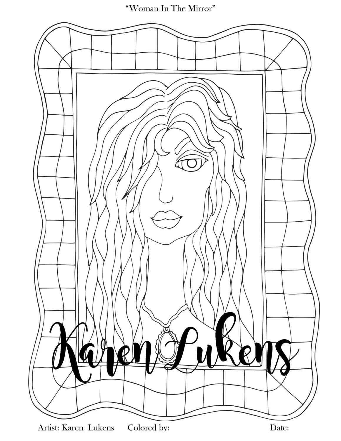 Woman In The Mirror 1 Adult Coloring Book Page Printable