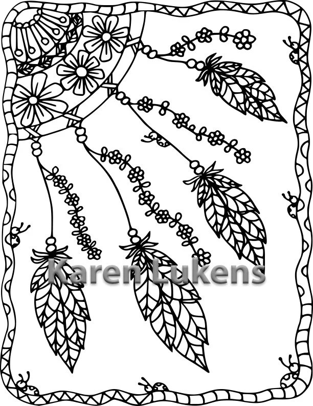 Happy Dream Catcher 1 Adult Coloring Book Page Printable