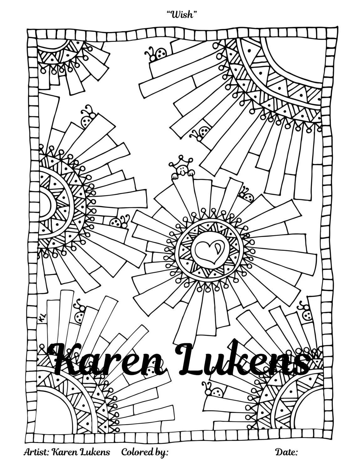 Wish 1 Adult Coloring Book Page Printable Instant Download