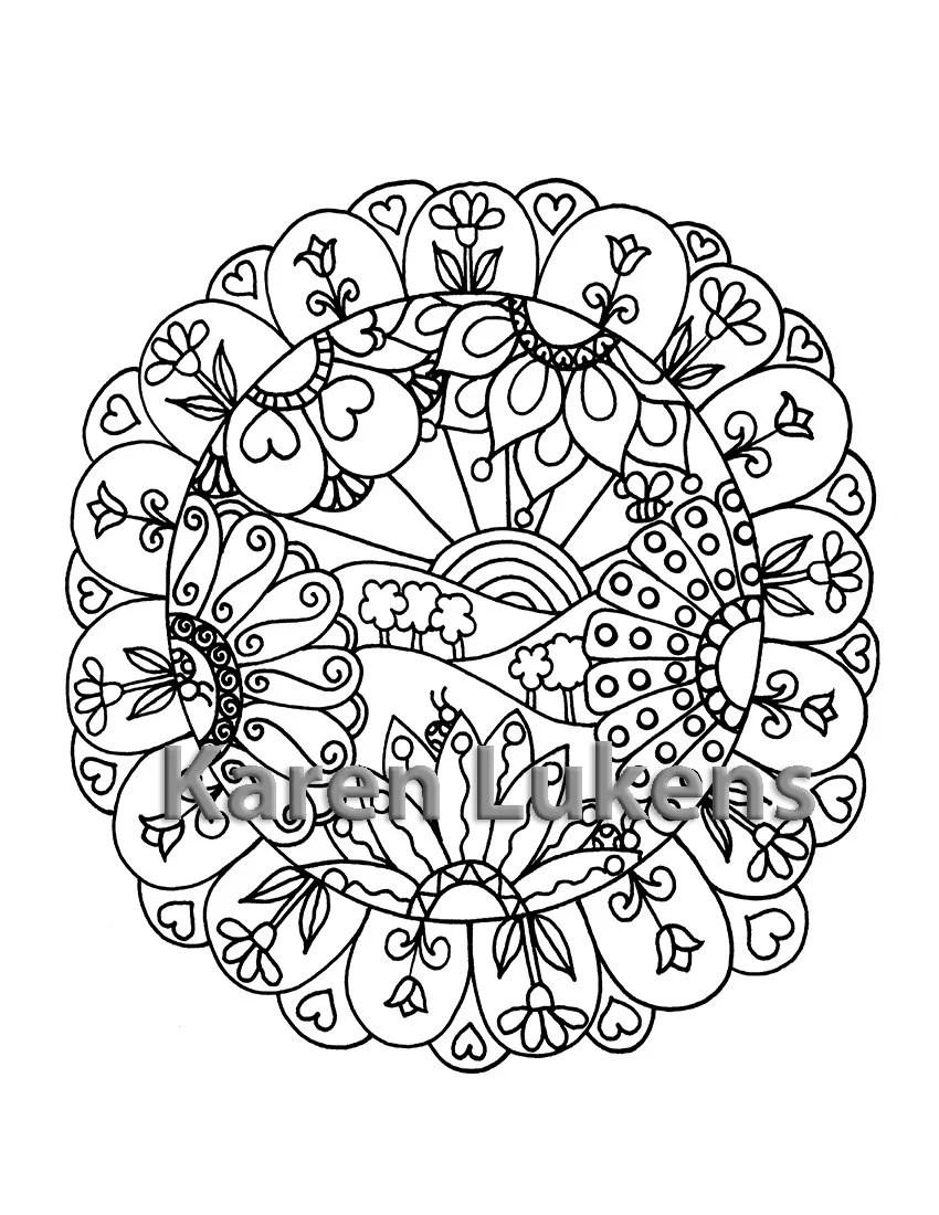 Happy Mandala 1 Adult Coloring Book Page Instant Digital