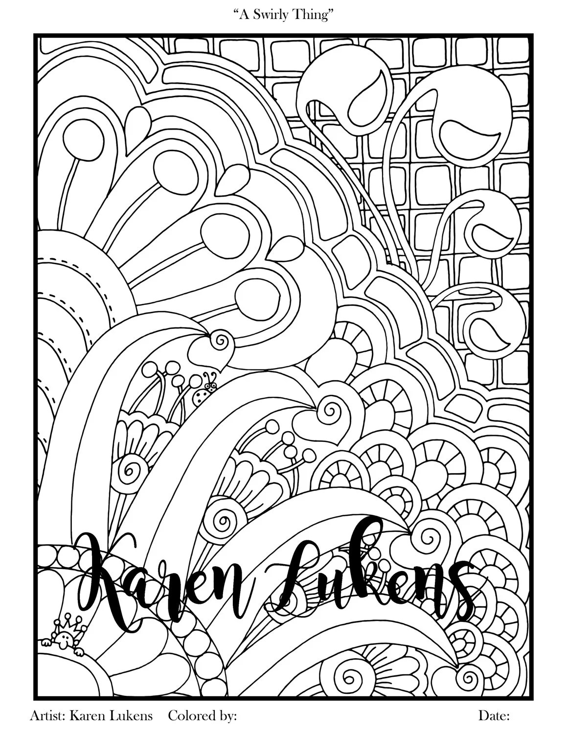 A Swirly Thing 1 Adult Coloring Book Page Printable