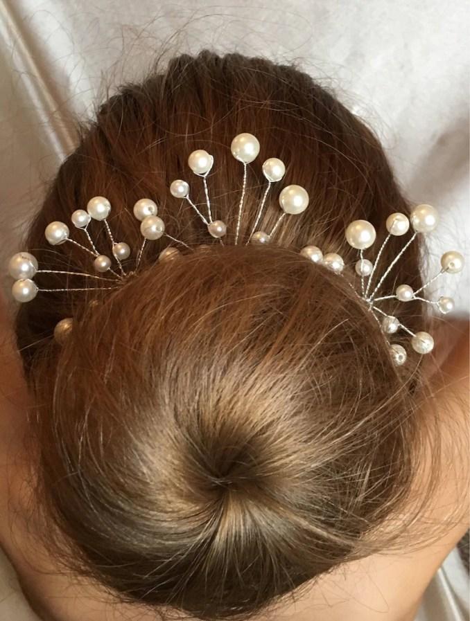 wedding hair pins, bridesmaid hair accessories, set of 3 bridal hair pins, brides hair piece, pearl hair comb, flower girl accessories