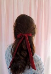 burgundy red silk hair ribbon pony