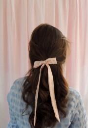 shell pink silk hair ribbon pony