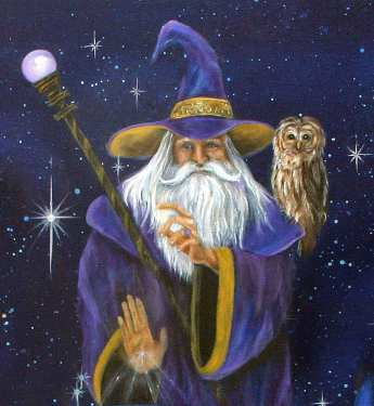 Magical Merlin Wizard and Owl Art Print Wall Art Home | Etsy