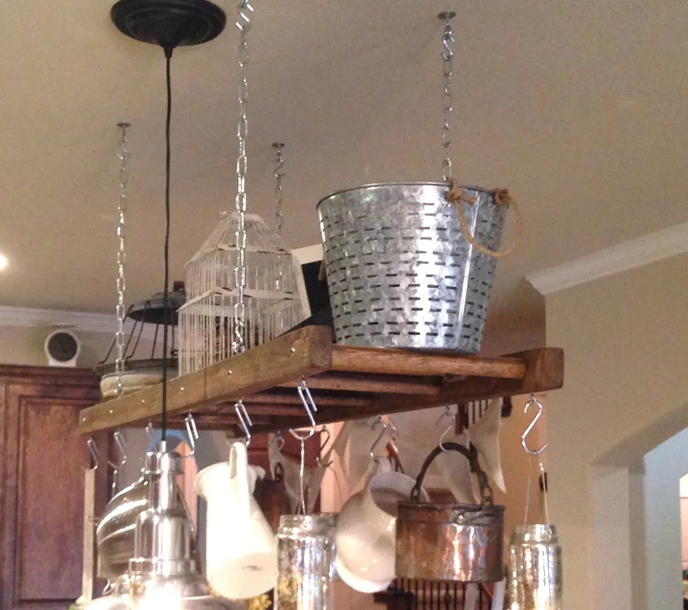 kitchen ladder tile floors island farmhouse pot rack oversized and etsy image 0