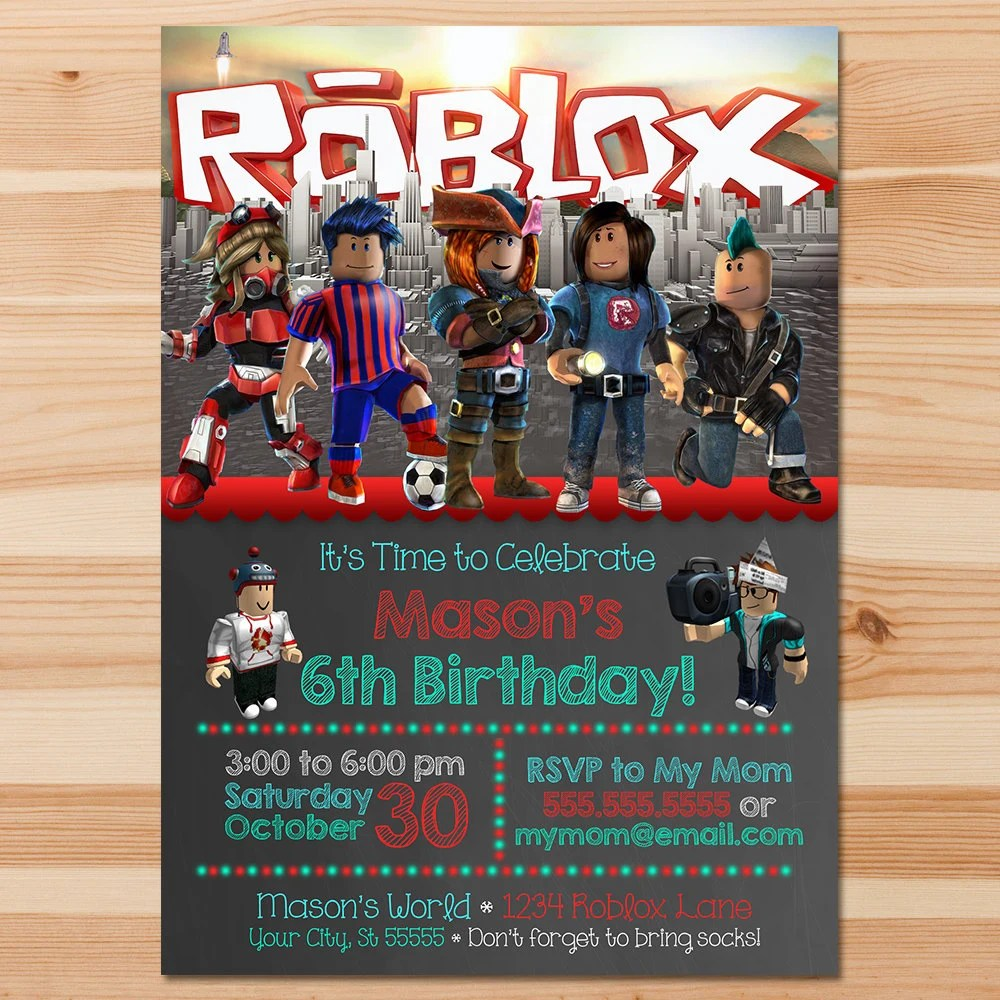 roblox birthday invite roblox invitation roblox party roblox printables roblox birthday party favors printable invite 100501