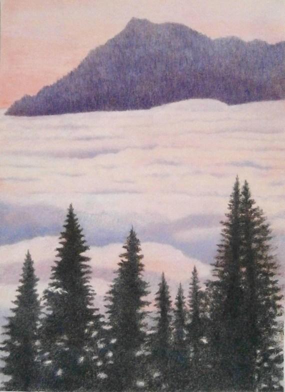 Mountain Pencil Drawing : mountain, pencil, drawing, Misty, Mountains, Original, Landscape, Coloured, Pencils, Drawing
