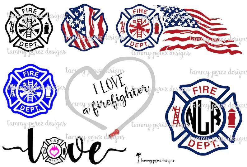 Download Firefighter LOVE Monogram SVG DXF Files Digital download ...