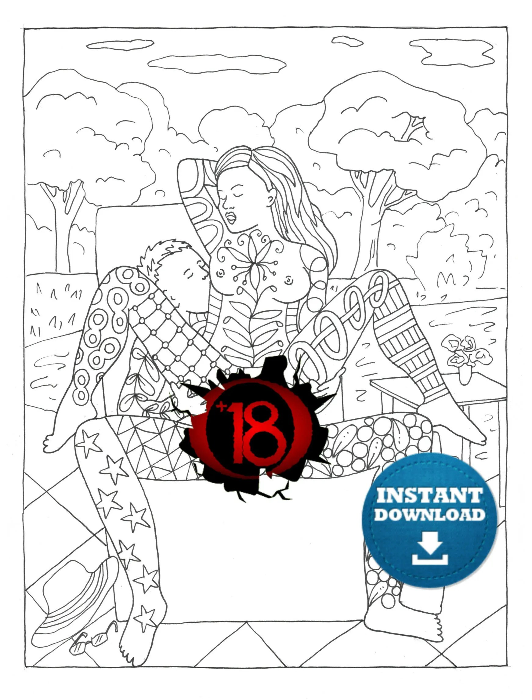 X Rated Coloring Books : rated, coloring, books, Instant, Download, Positions, Coloring, Naughty, Adult