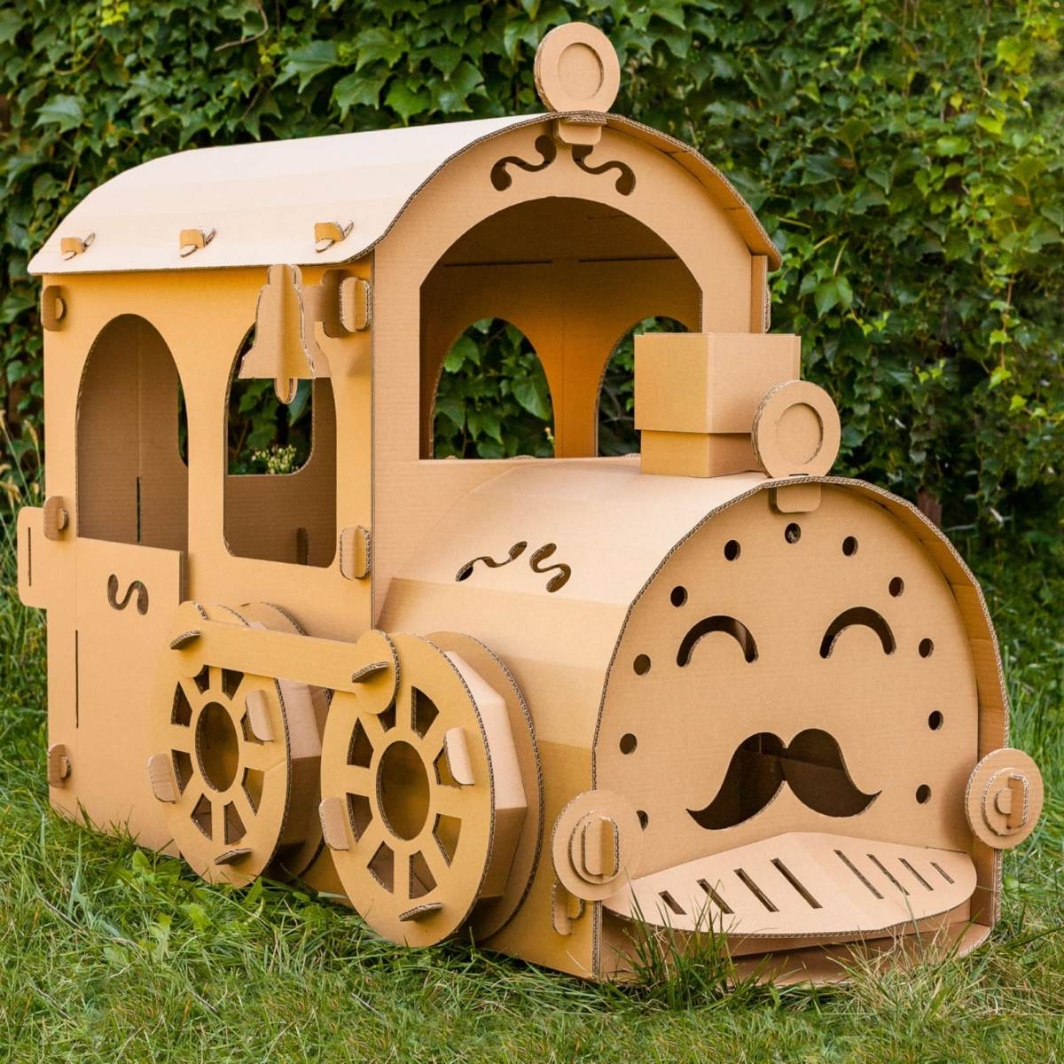 Train made from corrugated material