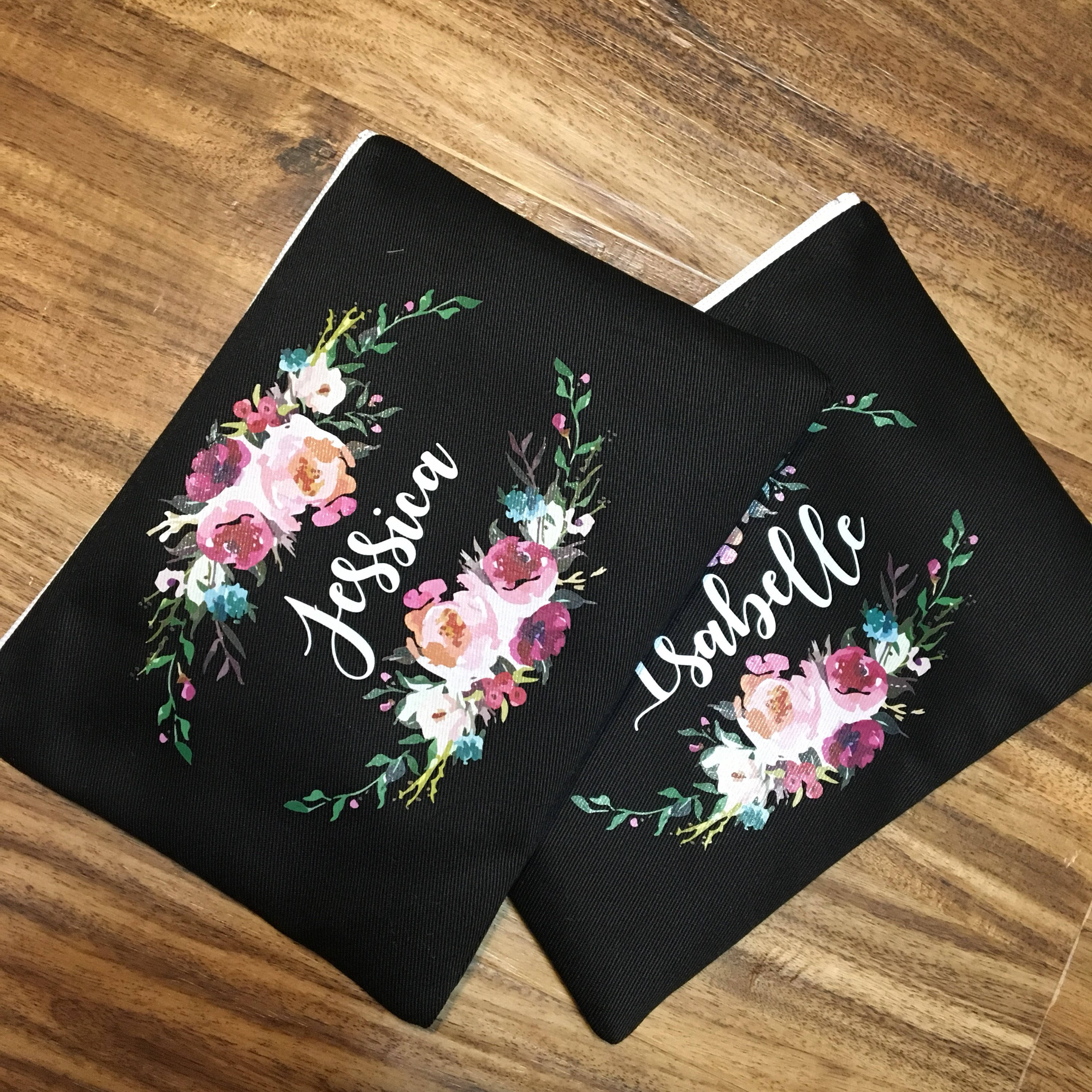 Floral and Name Custom Makeup Bag / Bridal Party / Flowers / image 4