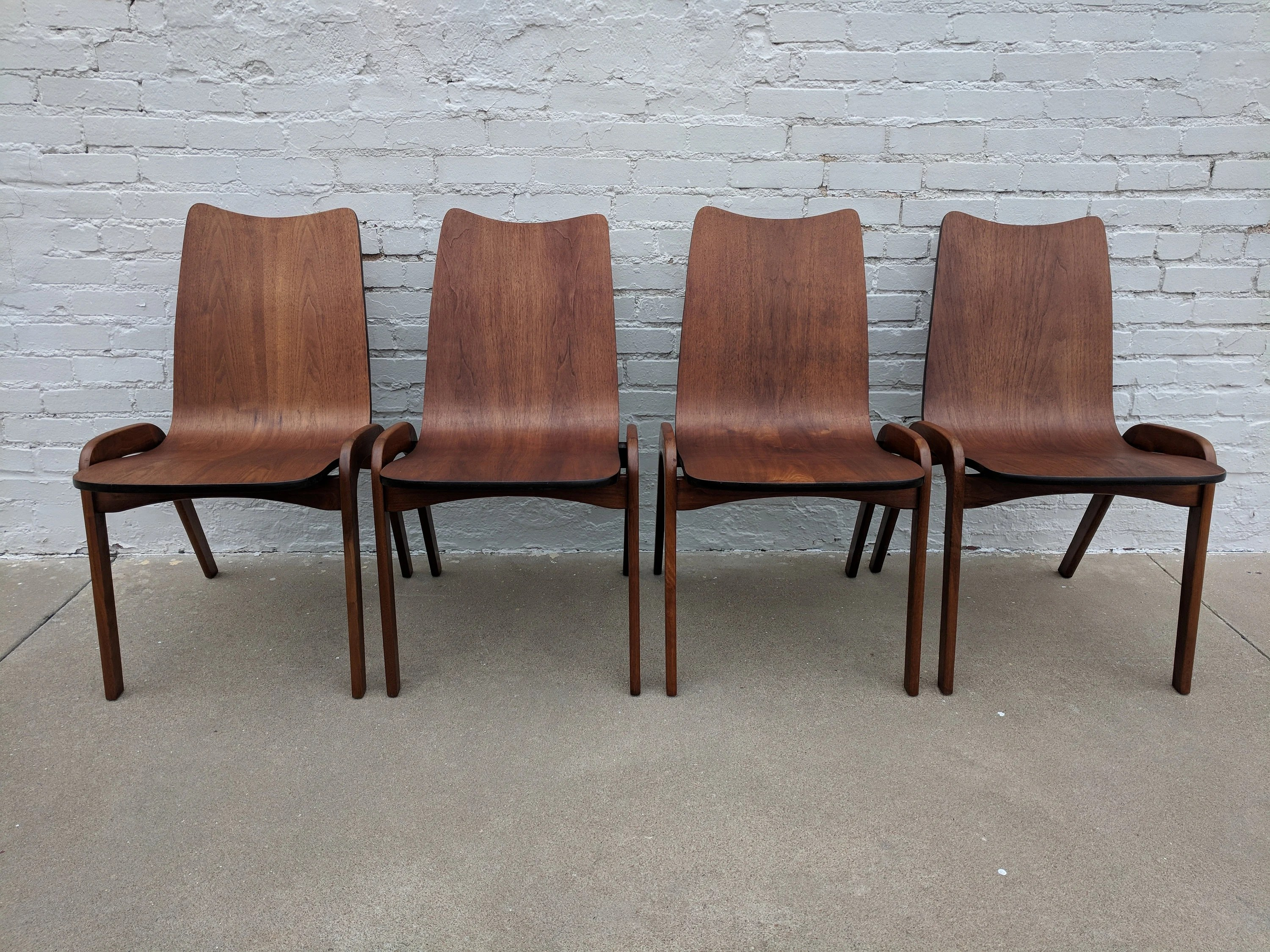 bentwood dining chair hag posture mid century modern set of four etsy image 0