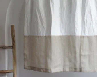 kitchen cafe curtains mirrored backsplash etsy white for the rod pocket custom treatments valance linen