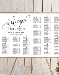 Wedding alphabetical seating chart template printable editable plan find your seat sign also etsy rh