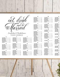 Wedding alphabetical seating chart template printable editable plan eat drink and be married sign also navy blue etsy rh