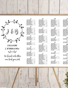 Image also wreath wedding alphabetical seating chart template printable etsy rh