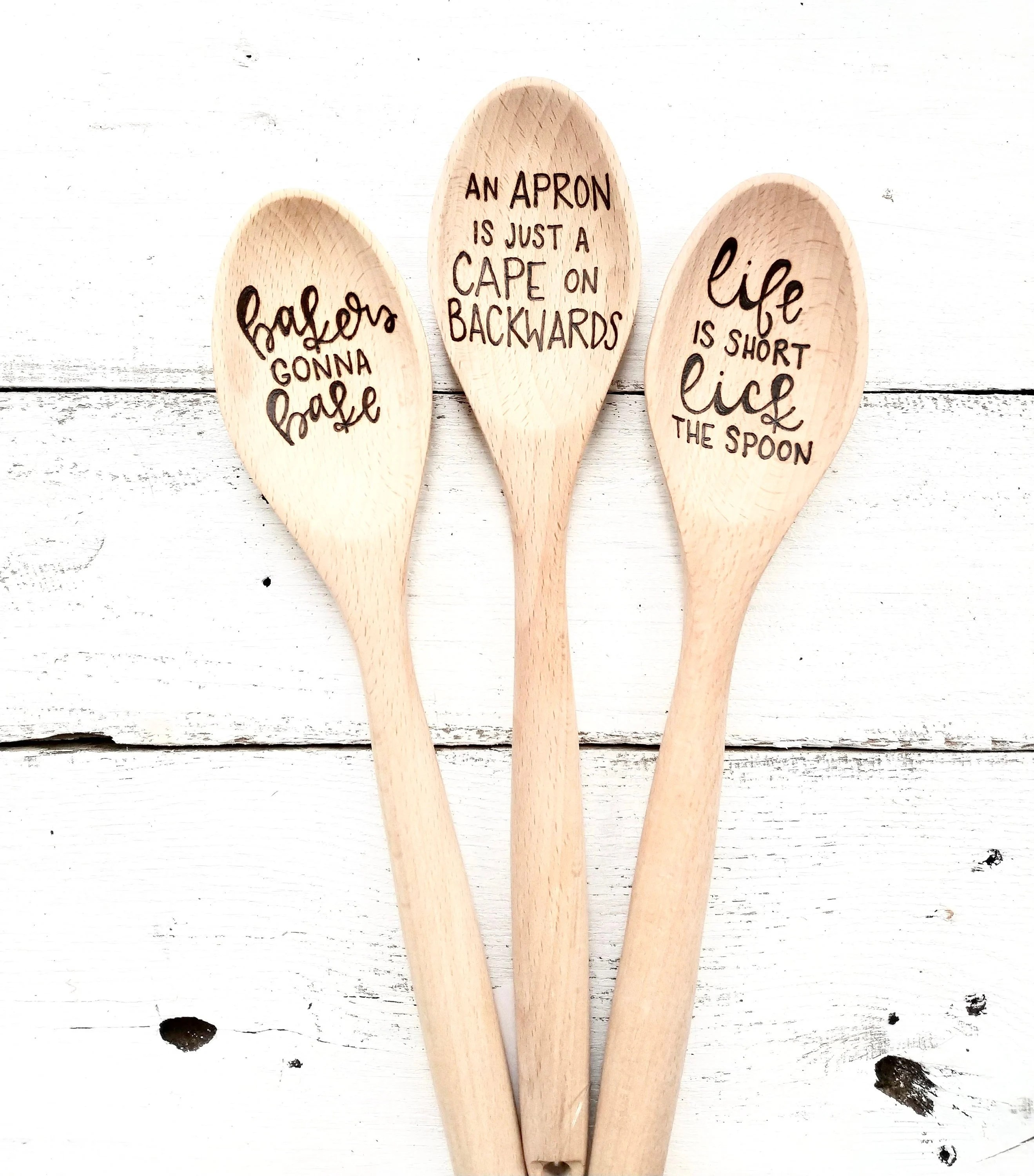 kitchen spoons decorative ceramic tiles custom personalized gifts wood etsy image 0