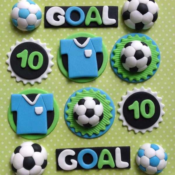Edible Fondant Football Cupcake Toppers. Soccer Cake